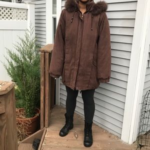 St. John's Bay brown faux coat size M